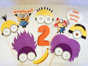 The whole Minion Mayhem Despicable Me Photo Booth Prop Set for David